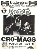 venom black metal USA tour 1986