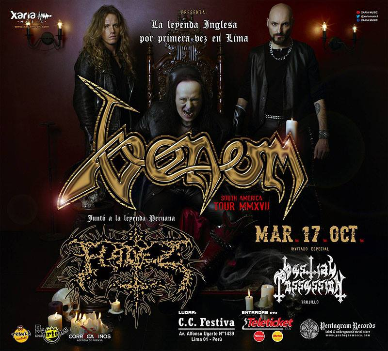 Venom South America Tour 2017 Peru Brazil Chile Argentina