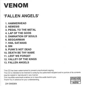 venom fallen angels promo CD