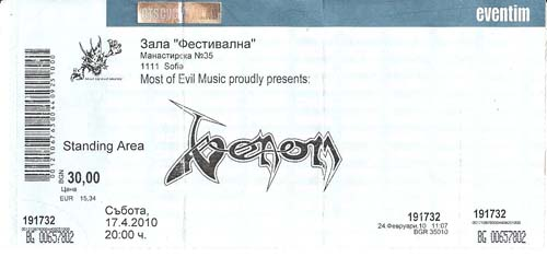venom sofia Bulgaria ticket stubb 2010