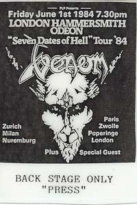 venom seven dates of hell tour 1984