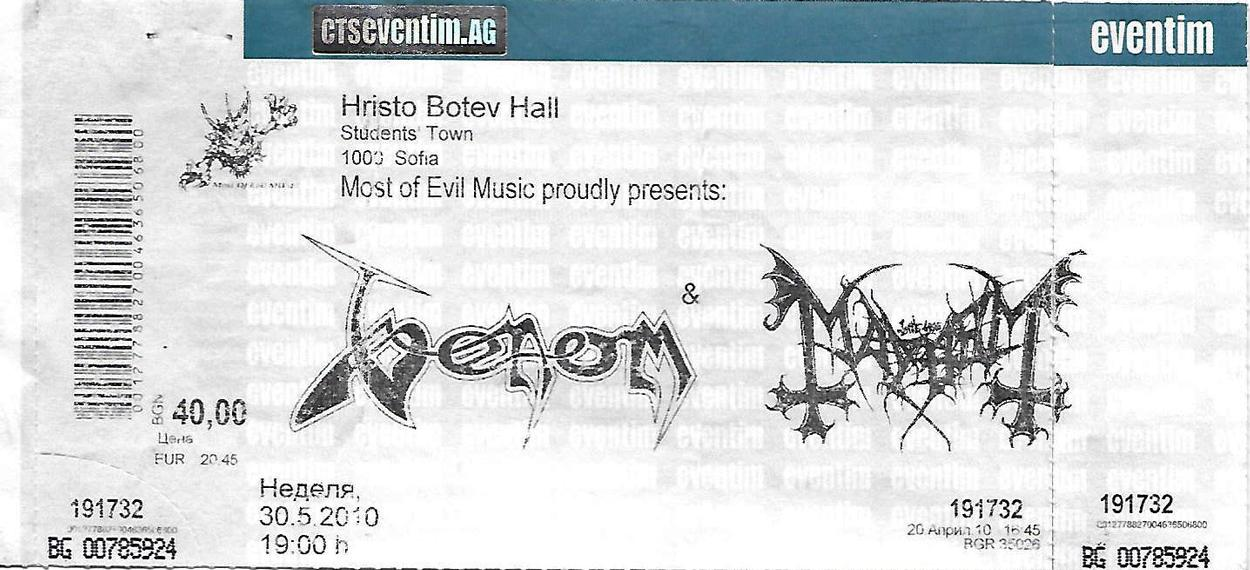 venom black metal ticket sofia 2010