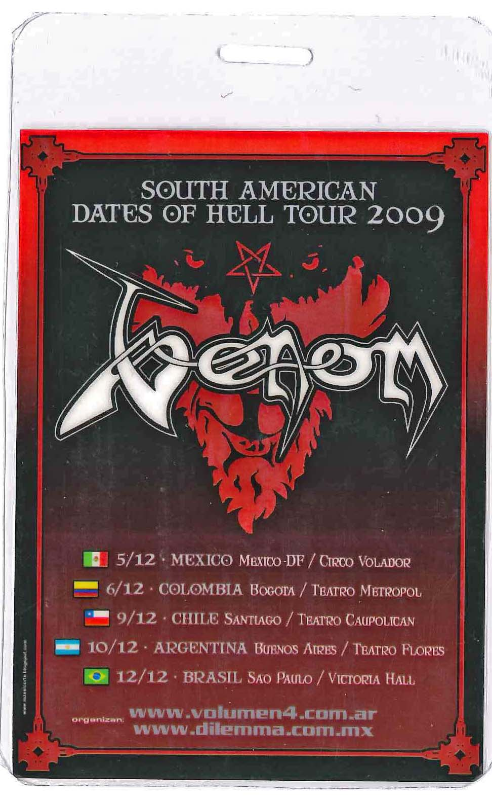 venom tour pass south america 2009