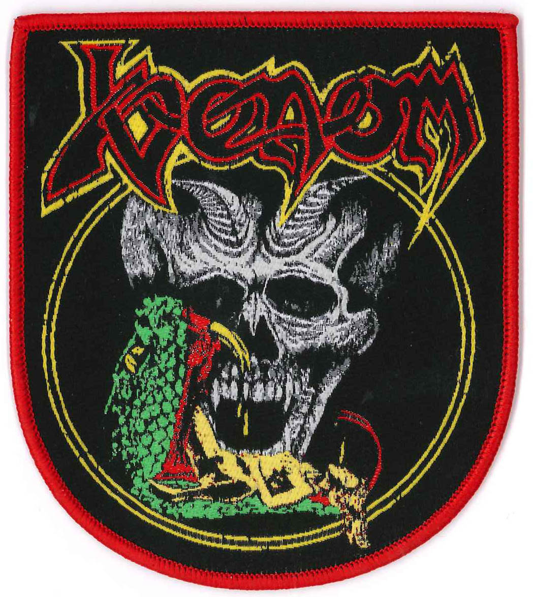 venom black metal snake and skull patch