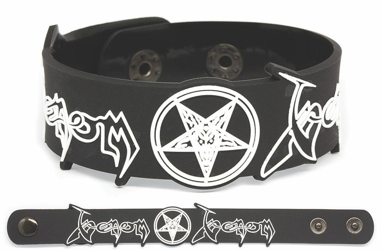 venom black metal rubber bracelet wristband