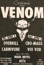 venom black metal the ritz 1986 advert concert