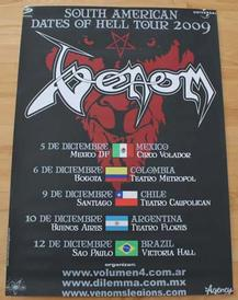 venom south american dates of hell tour 2009 poster