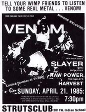venom black metal 1985 tour flyer slayer exodus